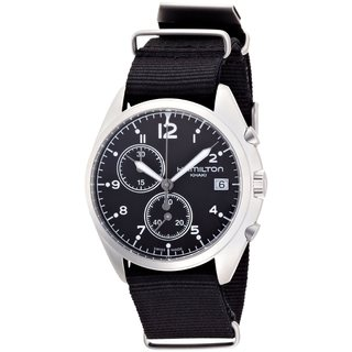 Hamilton Khaki Aviation Pilot Pioneer Chrono Quartz Black Fabric Strap Men's Watch