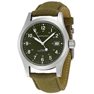Hamilton Men's 'Khaki Field' Mechanical Green Watch|https://ak1.ostkcdn.com/images/products/9056551/Hamilton-Mens-Khaki-Field-Quartz-Green-Watch-P16251617.jpg?impolicy=medium