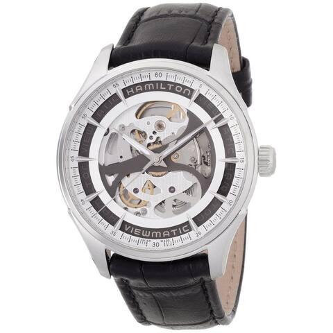 Hamilton Men's 'Skeleton Gent' Auto Black Leather Watch