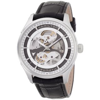 Hamilton Men's 'Skeleton Gent' Auto Black Leather Watch