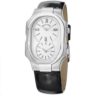 Philip Stein Women's 2-NCW-LB 'Signature' White Dial Black Leather Strap Dual Time Watch