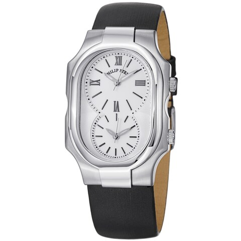Philip Stein Women's 'Signature' White Dial Black Satin Strap Dual Time Watch