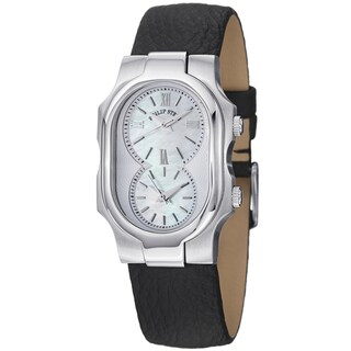 Philip Stein Women's 'Signature' Mother of Pearl Dial Leather Dual Time Strap Watch