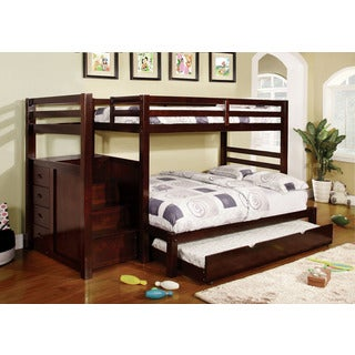 Pine Ridge Espresso Bunk Bed with Drawers and Steps
