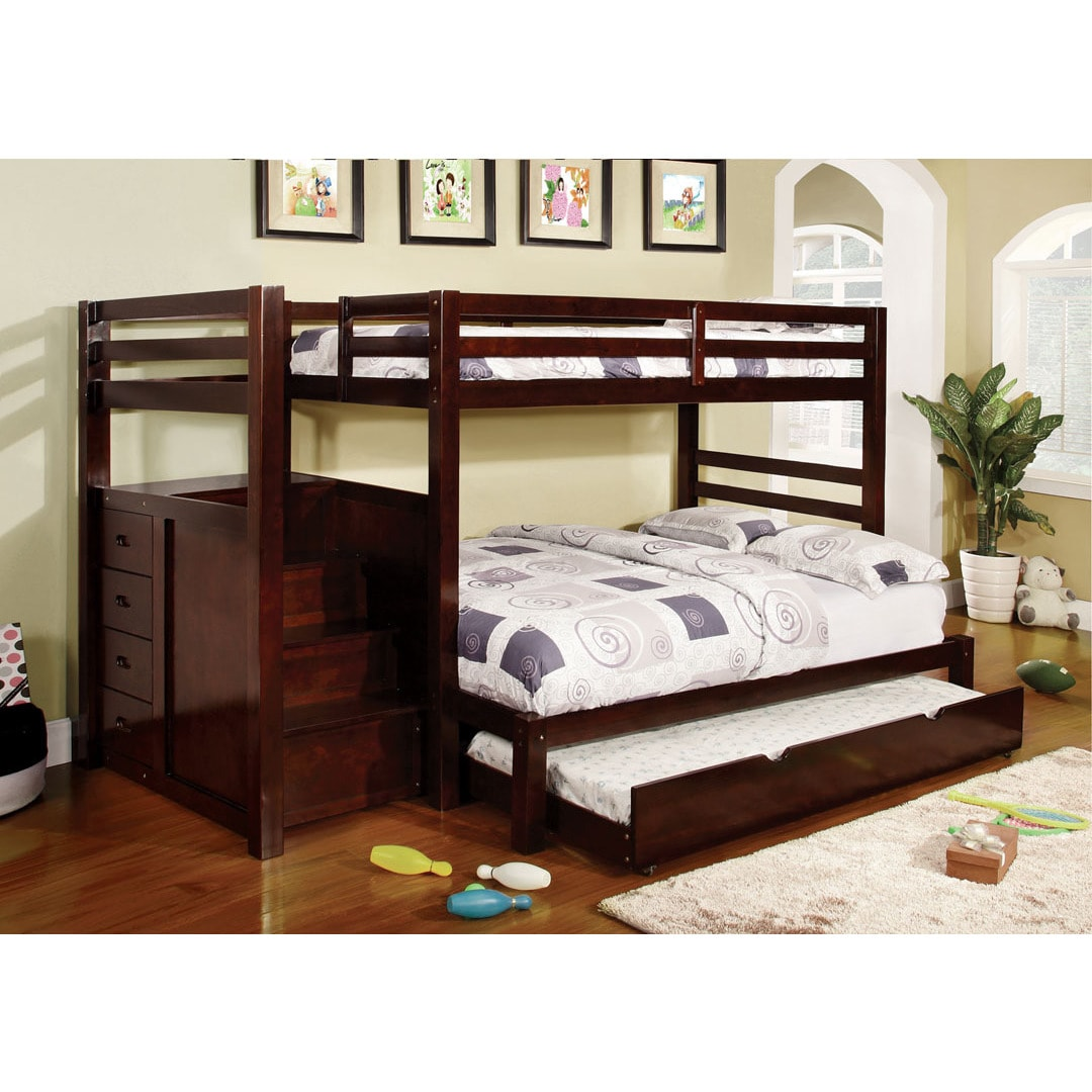 Furniture of America Pine Ridge Espresso Bunk Bed with Dr...