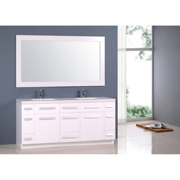 Design Element Moscony White 72-Inch Double Sink Vanity Set - Free ...