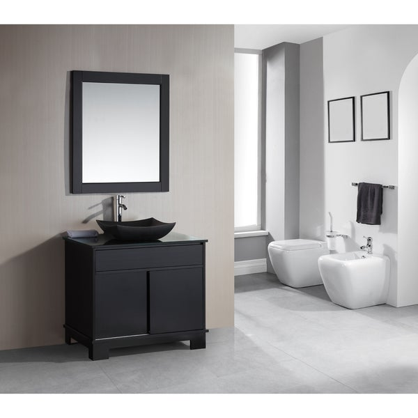 Bolzana Vanity With Marble Top Espresso Without Mirror