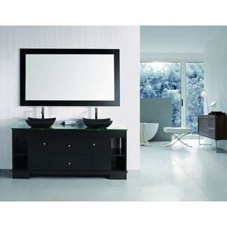 Design Element Espresso Oasis LED lights 72-inch Double Sink Vanity Set