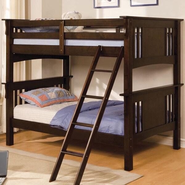 Wiltz Dark Walnut Finish Twin Over Twin Bunk Bed
