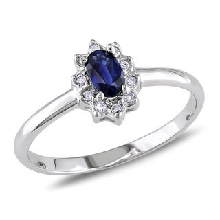 Miadora 14k White Gold Sapphire and Diamond Accent Cocktail Ring