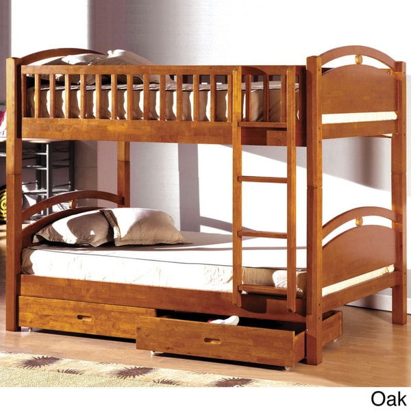 Portici Twin Over Twin Bunk Bed with Two Underbed Drawers