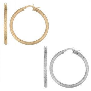 Fremada 14k Gold Diamond-cut Round Hoop Earrings