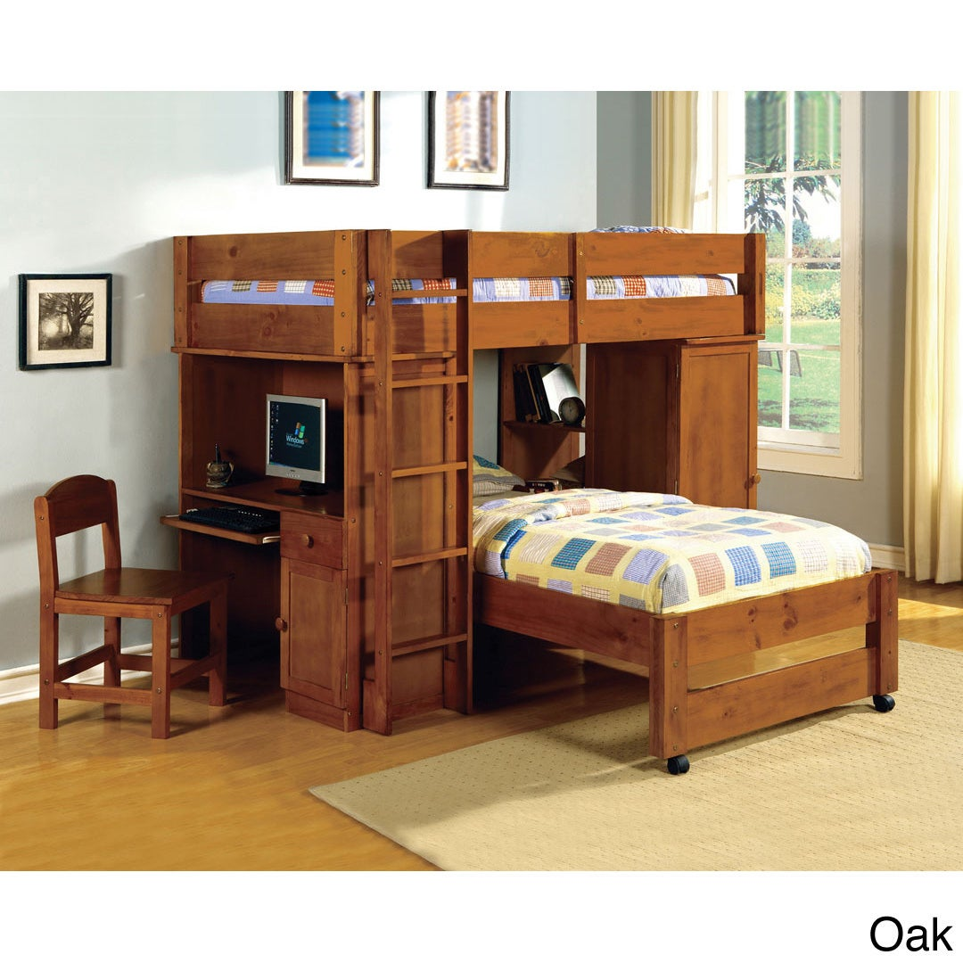 Furniture of America Siena Junior Loft Twin Over Twin Bun...