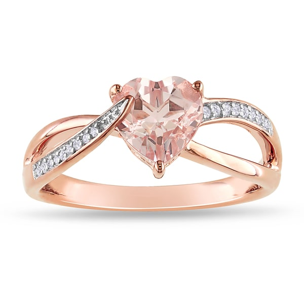 Shop Miadora Rose Plated Silver Morganite And Diamond