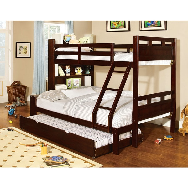 fairfield twin over full bunk bed with bookshelf