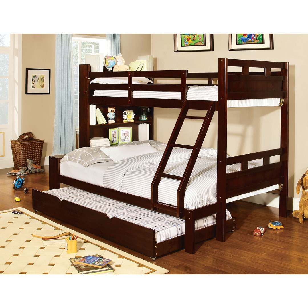 Furniture of America Fairfield Twin Over Full Bunk Bed wi...
