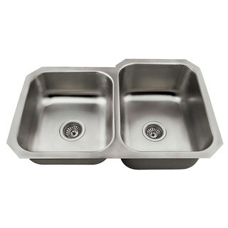 Polaris Sinks PR3501US Offset Double Bowl Stainless Steel Kitchen Sink