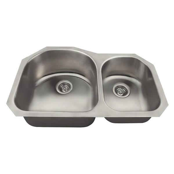 Polaris Sinks PL1301US Offset Double Bowl Stainless Steel Kitchen Sink