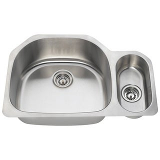 Polaris Sinks PL123-16 Offset Double Bowl Stainless Steel Kitchen Sink