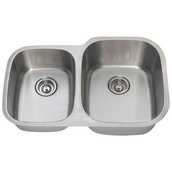 Polaris Sinks PR305-18 Offset Double Bowl Stainless Steel Sink
