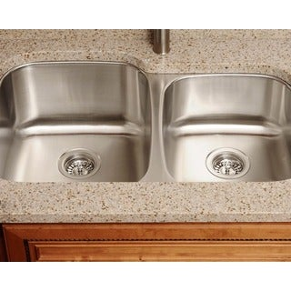 Polaris Sinks PL305-18 Offset Double Bowl Stainless Steel Sink
