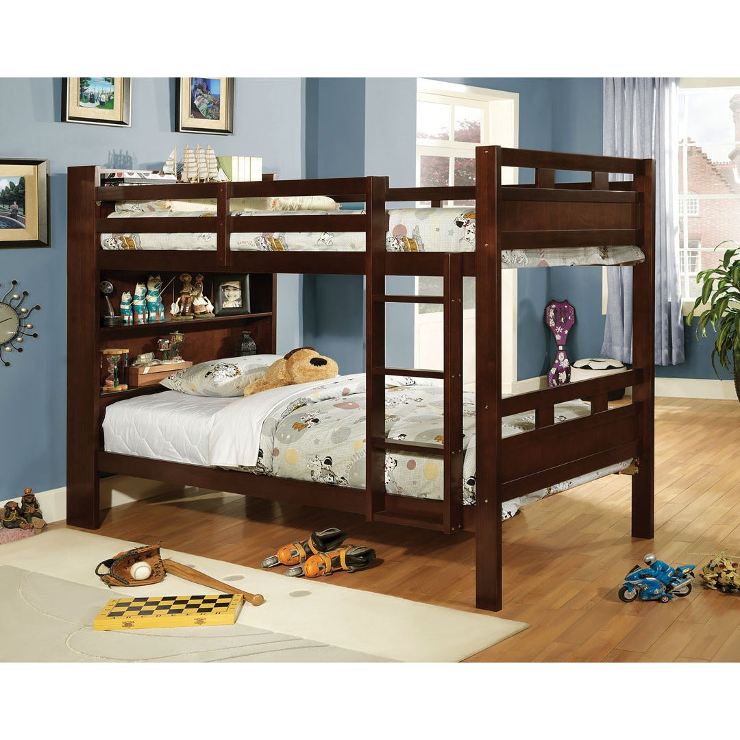 Furniture of America Fairfield Twin Over Twin Bunk Bed wi...