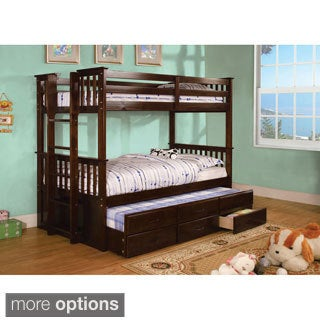 Crotone Twin Over Twin Bunk Bed with Trundle & Drawers
