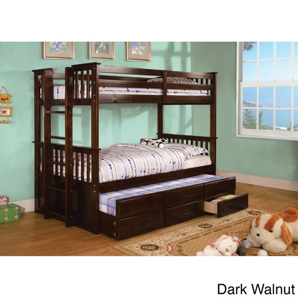Shop Crotone Twin Over Twin Bunk Bed With Trundle Drawers Free