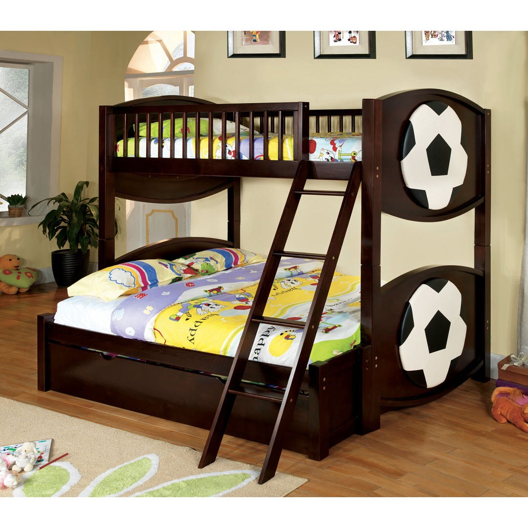Picture of: Shop Black Friday Deals On Dublin Dark Walnut Finish Soccer Themed Twin Over Full Bunk Bed Overstock 9056673