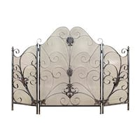 Traditional 40 x 56 Inch 3-Panel Scrollwork Fire Screen by Studio 350