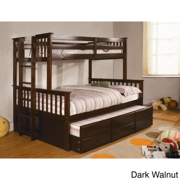 Details About White 3 Piece Storage Drawers Twin Bed Box: Shop Legnano Twin Over Full Bunk Bed With Twin Trundle