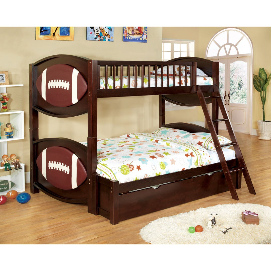 Picture of: Dublin Dark Walnut Finish Football Themed Twin Over Full Bunk Bed Overstock 9056683