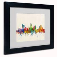 Michael Tompsett 'Leicester England Skyline' Framed Matted Art