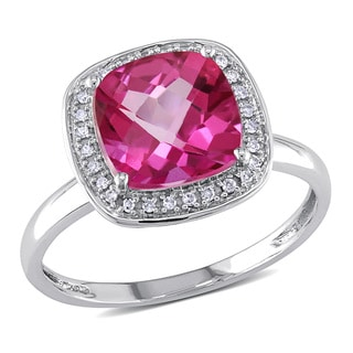 Miadora 10k White Gold Pink Topaz and 1/10ct TDW Diamond Ring (H-I, I2-I3)
