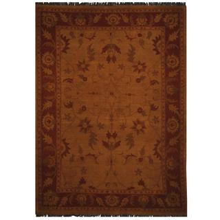 Herat Oriental Afghan Hand-woven Vegetable Dye Soumak Gold/ Rust Wool Rug (7' x 9'6)
