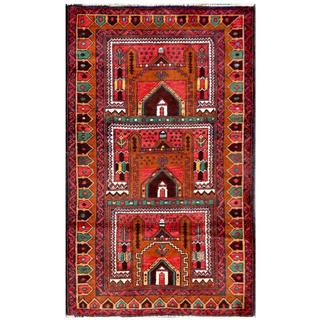 Herat Oriental Semi-antique Afghan Hand-knotted Tribal Balouchi Brown/ Salmon Wool Rug (2'10 x 4'9)