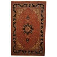 Herat Oriental Persian Hand-knotted Tabriz Wool and Silk Rug (6'6 x 10'1) - 6'6 x 10'1