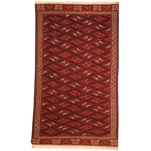 Herat Oriental Turkoman Hand-knotted 1960s Semi-antique Yamoud Wool Rug (6'5 x 11') - 6'5 x 11'
