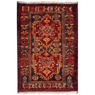 Herat Oriental Afghan Hand-knotted Tribal Balouchi Wool Rug (2'8 x 3'11)