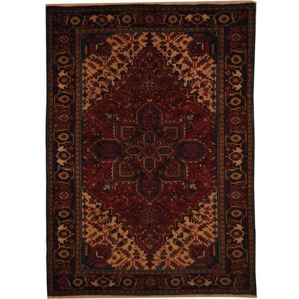 Herat Oriental Persian Hand-knotted 1960s Semi-antique Heriz Wool Rug (6'7 x 9'2) - 6'7 x 9'2