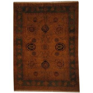 Herat Oriental Indo Hand-knotted Vegetable Dye Mahal Gold/ Green Wool Rug (7'3 x 9'8)