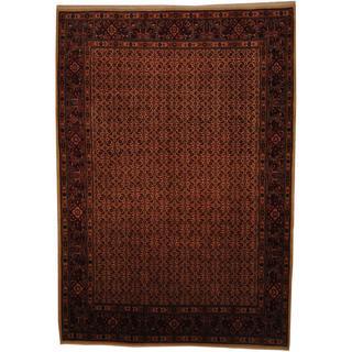 Herat Oriental Persian Hand-knotted Moud Bidjar Ivory/ Red Wool Rug (7' x 10')