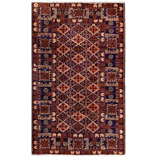 Herat Oriental Afghan Hand-knotted 1940s Semi-antique Tribal Balouchi Wool Rug (2'10 x 4'8)