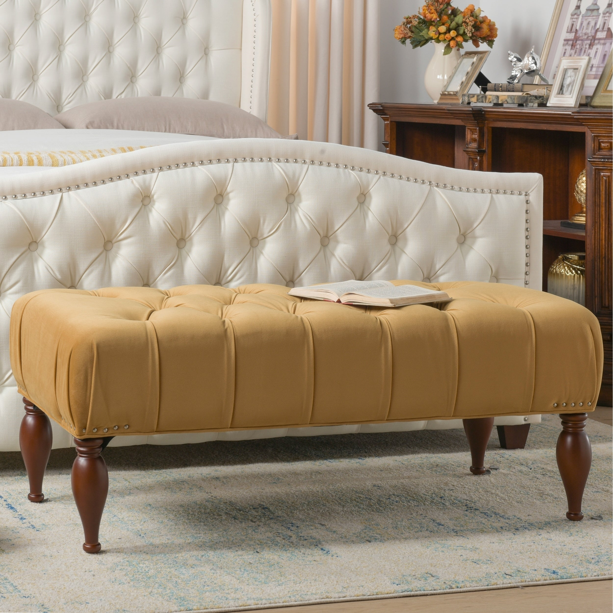 Shop Lyon Tufted Entryway Accent Bench By Jennifer Taylor Home Overstock 9056985