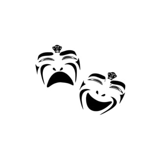 Kabuki Theater Masks Vinyl Wall Art