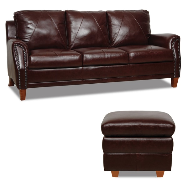 Shop Dark Burgundy Leather Sofa And Ottoman Set Free
