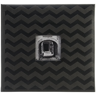 "Pioneer Embossed Post Bound Scrapbook Album 12""X12""-Black Chevron"