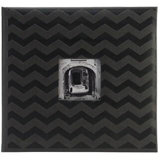 "Pioneer Embossed Post Bound Scrapbook Album 12""X12""-Black Chevron"