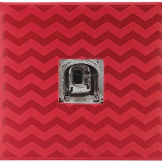 "Embossed Post Bound Scrapbook Album 12""X12""-Red Chevron"