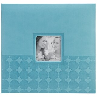 "Pioneer Embossed Post Bound Scrapbook Album 12""X12""-Aqua Circles"